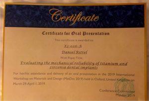 Certificate for oral presentation
