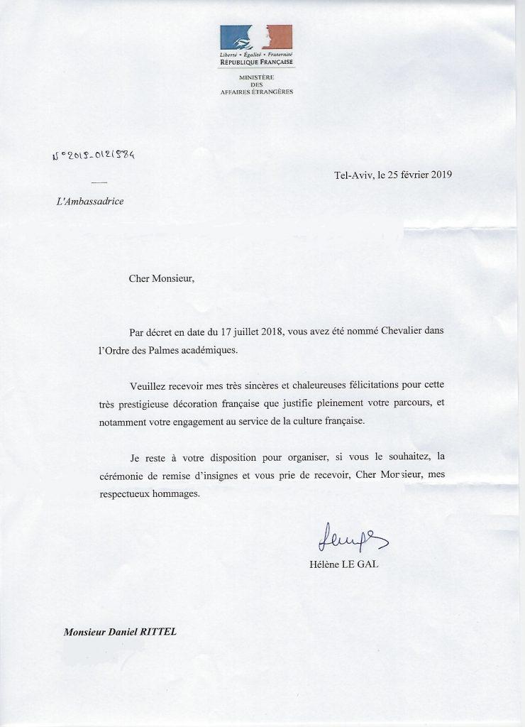 "The letter of nomination Chevalier to the ""Ordre des Palmes Academiques"""