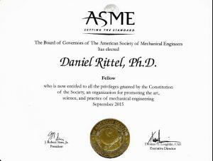 ASME Fellow certificate