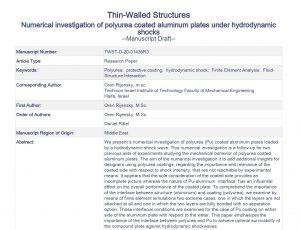 numerical investigation of polyurea coated aluminum